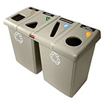 Rubbermaid 1792374 Recycling Station, (4) 23 gal Slim Jim Containers, (8) Lids, Beige