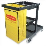 Rubbermaid FG617388 BLA Black Cleaning Cart w/ Yellow Zippered Bag