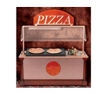 Bon Chef 50111 Pizza Station w/ Overhead Heat, Condiment Rack, Enclosed Cabinet