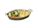 Bon Chef 5025DS BLK 15-in Oval Divided Au Gratin Pan, Aluminum/Black