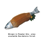 Bon Chef 9004S TERRA 36-in Wood Body Salmon Dish, Aluminum/Terra Cotta