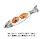 Bon Chef 9004MS RED 36-in Marble Body Salmon Dish, Aluminum/Red