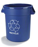 Carlisle 341020REC14 20-Gallon Round Recycle Waste Container, Blue