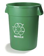 Carlisle 341032REC09 32-Gallon Round Recycle Waste Container, Green