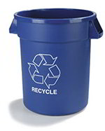 Carlisle 341032REC14 32-Gallon Round Recycle Waste Container, Blue