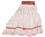 Carlisle 369424B00 Large 4-Ply Mop Head w/ Loop-End, Red Banded Natural Cotton Blend