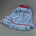 Carlisle 369454B14 Large 4-Ply Mop Head w/ Loop-End, Red Band Blue Cotton Blend Yarn
