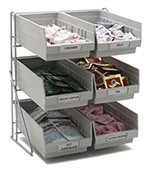 Carlisle 381206LG Wire Frame Packet Rack, Holds (6) 4 Qt Containers (included), Gray