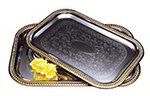 Carlisle 608909 20-5/8-in x 14-in Rectangular Serving Tray w/ Gold Border, Chrome Plated