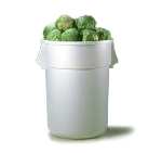 Continental Commercial 4444WH General Purpose Trash Can w/ 44-Gallon Capacity, White