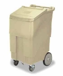 Continental Commercial 9720 BE Mobile Ice Bin w/ 200-lbs Capacity, 1-Locking Caster, Beige