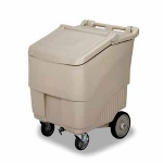 Continental Commercial 9725 BE Mobile Ice Bin w/ 125-lbs Capacity, 1-Locking Caster, Beige