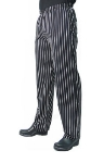 San Jamar P016WS-L Cotton Chef Pants, Slim Fit, Large, Black/White Pinstripe