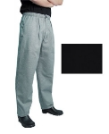 San Jamar P017BK-L Poly Cotton Executive Chef Pants, Large, Black