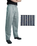 San Jamar P019BGS-3X Cotton Executive Chef Pants, 3X, Blue/Gray Soho Stripe