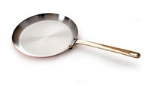 World Cuisine 45218-25 Round Crepe Pan w/ Bronze Handle, 10-in, Stainless Lined Copper