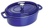 Staub 1103391 Enameled Cast Iron La Cocotte, Oval, 7 qt, Dark Blue