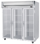 Beverage Air HFS3-5G Freezer, 3-Glass Full Doors, Stainless Front & Interior, 74-cu ft