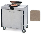 Lakeside 2065 BGESUE 40.5-in High Mobile Cooking Cart w/Induction Stove, Beige Suede