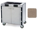 Lakeside 2072 BGESUE 35.5-in High Mobile Cooking Cart w/ 2-Infrared Stove, Beige Suede