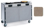 Lakeside 2080 BGESUE 35.5-in High Mobile Cooking Cart w/ 3-Infrared Stove, Beige Suede