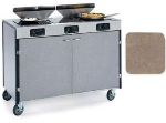 Lakeside 2085 BGESUE 40.5-in High Mobile Cooking Cart w/ 3-Infrared Stove, Beige Suede