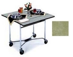 Lakeside 413 BGSUE 36-in Square Drop-Leaf Room Service Table, Beige Suede