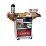 Lakeside 672 WAL Beverage Service Cart w/ 3-Shelves & Drop Leaves, Walnut