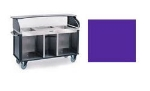 Lakeside 682-20 PUR 77.25-in Mobile Kiosk w/ 3-Full Size Pan Inserts, Purple