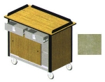 Lakeside 690-20 BEGSU 44.5-in Hydration Nutrition Cart w/ 2-Drawers, Beige Suede