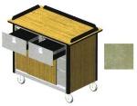 Lakeside 690-40 BEGSU 44.5-in Hydration Nutrition Cart w/ Sliding Doors, Beige Suede