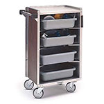 Lakeside 890 WAL Enclosed Bus Cart w/ (4) 16 x 22-in Shelves, 500-lb, Walnut