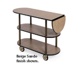 Lakeside 36202 Oval Service Cart w/ 3-Shelves & 10-in Drop Leaf, Casters