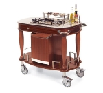 Lakeside 70172 Wood Veneer Flambe Cart w/ 2-Burner Propane Cooktop & Work Top