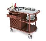 Lakeside 70365 Wood Veneer Flambe Cart w/ Stainless Work Top, 43-3/8-in