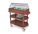 Lakeside 70375 Hot Meal Cart w/ Top Service Shelf & Acrylic Roll Top Dome