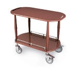 Lakeside 70453 Oval Wood Veneer Gueridon Spice Cart w/ Shelf & Handle Cutouts