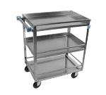 Lakeside 316 3-Shelf Utility Cart w/ Guard Rails & Push Handle, 300-lb Capacity