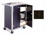 Lakeside 615 WAL Enclosed Bus Cart w/ 4-Shelves, Push Handle, 300-lb, Walnut
