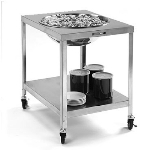 Lakeside 712 Mobile Bowl Stand w/ 29-5/8-in Top Cutout & Undershelf, Stainless