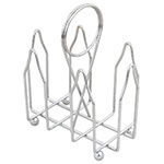 Browne Foodservice 177 Condiment Rack, 2 Compartments, Chrome Plated, Card Holder Handle