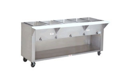 Supreme Metal HF-4E-120-BS-SS 34-in Hot Food Table w/ 4-Stainless Wells, Cabinet Base w/ Open Undershelf
