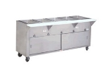 Supreme Metal HF-3G-NAT-DR-SS 34-in Hot Food Table w/ 3-Stainless Wells, Cabinet Base w/ Sliding Door, NG