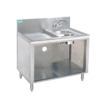 Supreme Metal PRWC-24-48 48-in Open Wet Dry Waste Cabinet, 4-in Deck Mount Faucet