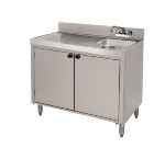 Supreme Metal SLWC-3-DR Wet Dry Waste Cabinet w/ Doors, Deck Mount Faucet, 18 x 35-in
