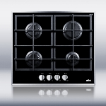 Summit Refrigeration GC424BGL Deluxe Gas-On-Glass Cooktop w/ 4-Burners & LP Conversion Kit, NG