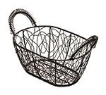 American Metalcraft AWB96 Scribble Basket, 9 in x 6 in, Oval, Black Wire With Gold Pattern