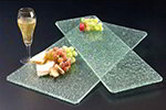 American Metalcraft BG824 Glacier Glass Platter, 24 in x 8 in, Flat, Bubble Glass, Green