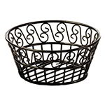 American Metalcraft BLSB93 Bread Basket, 9 in Dia., Black Scroll Design, Wrought Iron