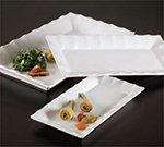 American Metalcraft CER39 Rectangular Ceramic Platter, 14-3/8 in x 7-7/8 in, Ruffle Rim